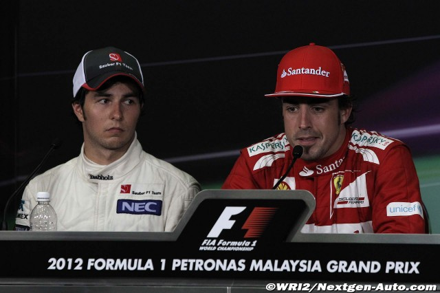 Фернандо Алонсо и Серхио Перес на пресс-конференции победителей и призеров на Гран-при Малайзии 2012