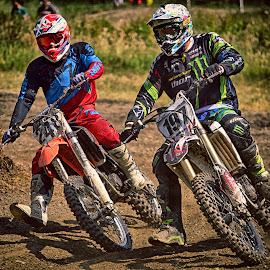 Fighted Duel by Marco Bertamé - Sports & Fitness Motorsports ( one hundred ninety-seven, curve, speed, green, 197, number, two hundred forty-eight, race, two, duo, red, motocross, blue, dust, clumps, 248, duel, black, competition )