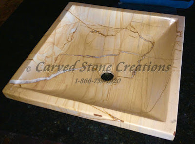 15x15xH5 Teakwood Polished Marble Square Vessel Sink
