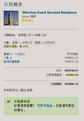 图新村愛威爾 8 服務公寓酒店 Ever8 Serviced Residence 12月價錢