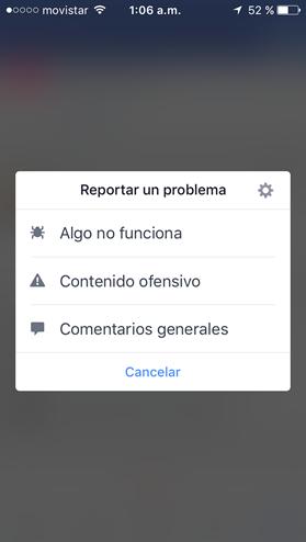 Reportar un problema de Facebook desde el celular