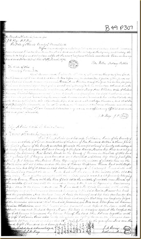 John A. Irwin,Catharine Irwin of Warren Co, OH convey land to David Mason 1872 1