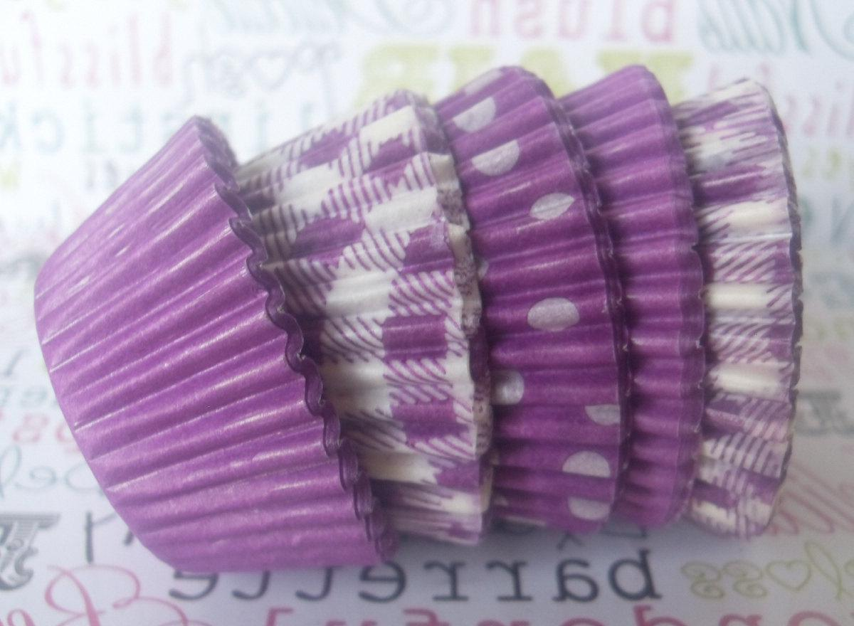 Custom Listing for Megan- MINI Assorted Purple & Lime Green Cupcake Liners,