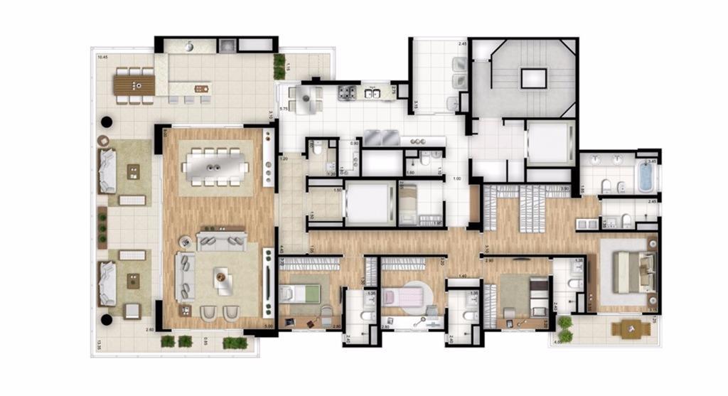 Planta Tipo - 4 suítes - 288 m² - Torre Bianco