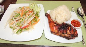 Green Papaya Salad, Thai BBQ Chicken and Sticky Rive. Railay, Krabi