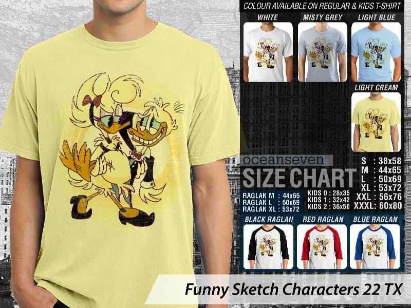 Kaos Kartun Lucu Funny Sketch Characters 22 donal bebek distro ocean seven