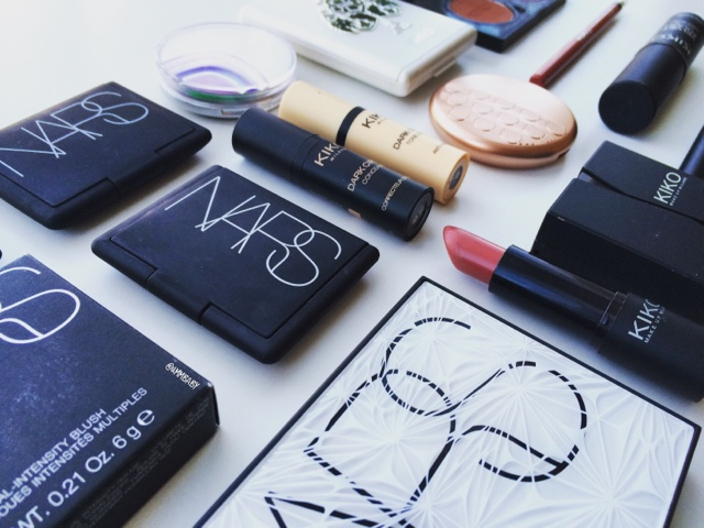 Nars makeup palettes displayed alongside kiko makeup products
