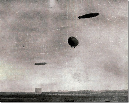 Zeppelins returning from a raid