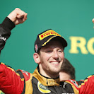 Romain Grosjean, Lotus F1, 2nd position, arrives on the podium