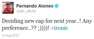 Фернандо Алонсо в твиттере о новой кепке на Гран-при Бельгии 2012
