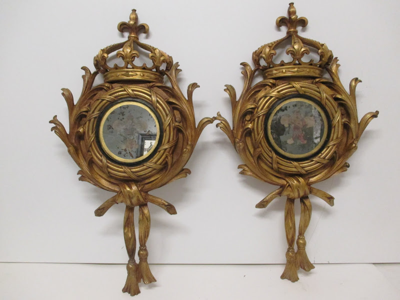 French Style Brass Wall Mirror Pair