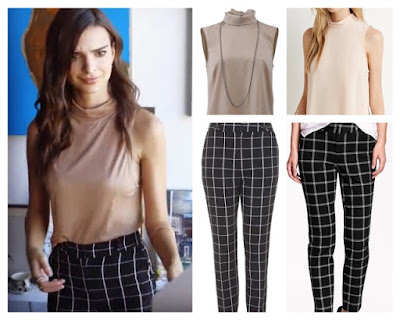Emily Ratajkowski Emrata Vogue Interview 73 questions in Mock Neck Top and Checked Grid Windowpane Pants