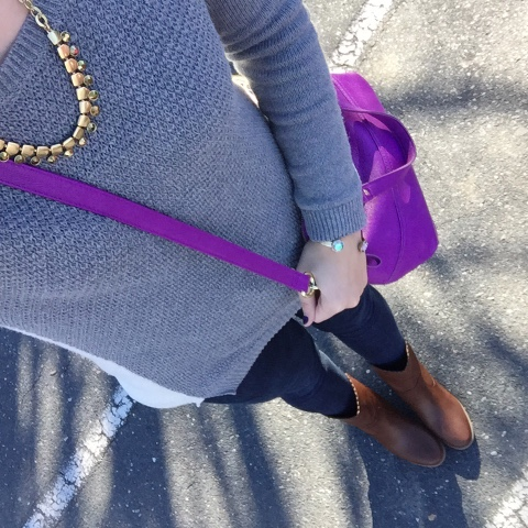 pop of color, tunic sweater, mom style