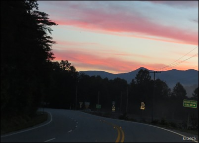 Sunrise leaving Rivers Edge on the way to Cades Cove