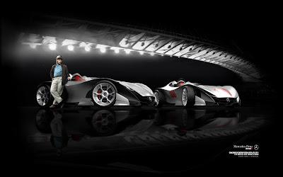 Хуан-Мануэль Фанхио и болиды Mercedes-Benz W100F - обои