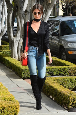 Emily Ratajkowski Street Style in Saint Laurent Knee High Boots