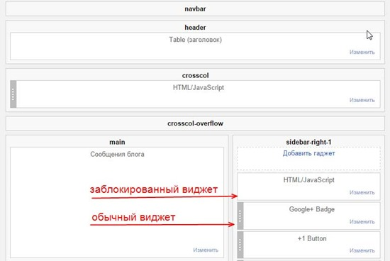 заблокированный виджет blogspot