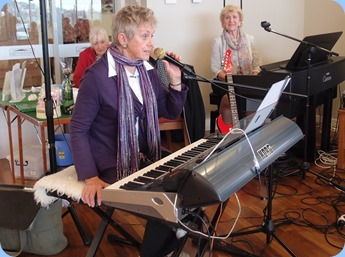 Our member, Jeanette Harding, playing and singing using a Korg Pa3X. Jeanette and Jim came all the way from New Plymouth to play for us and boy how she did play! Photo courtesy of Diane Lyons.