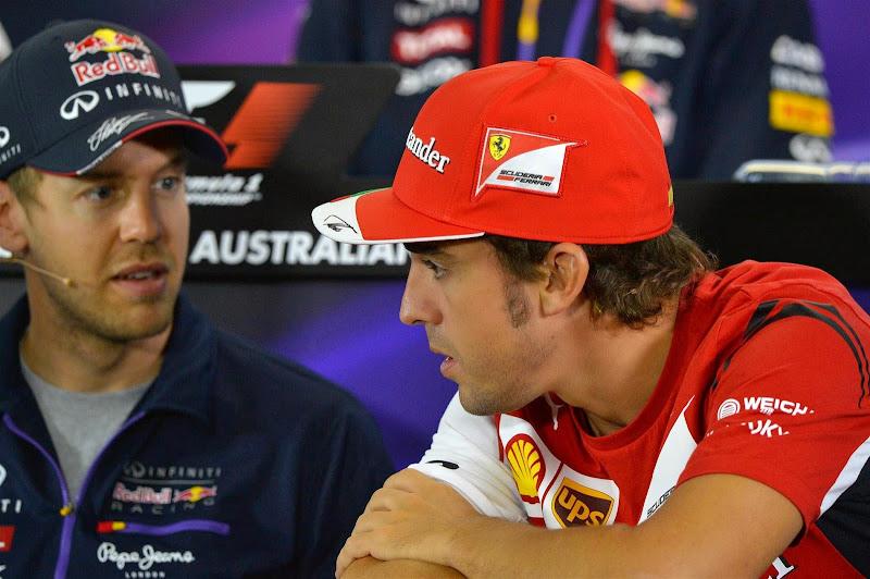 Себастьян Феттель и Фернандо Алонсо на пресс-конференции в четверг на Гран-при Австралии 2014