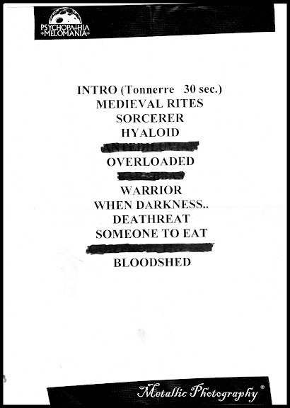 Set-list Agressor, PMFF V, Divan du Monde, Paris 11/01/2013