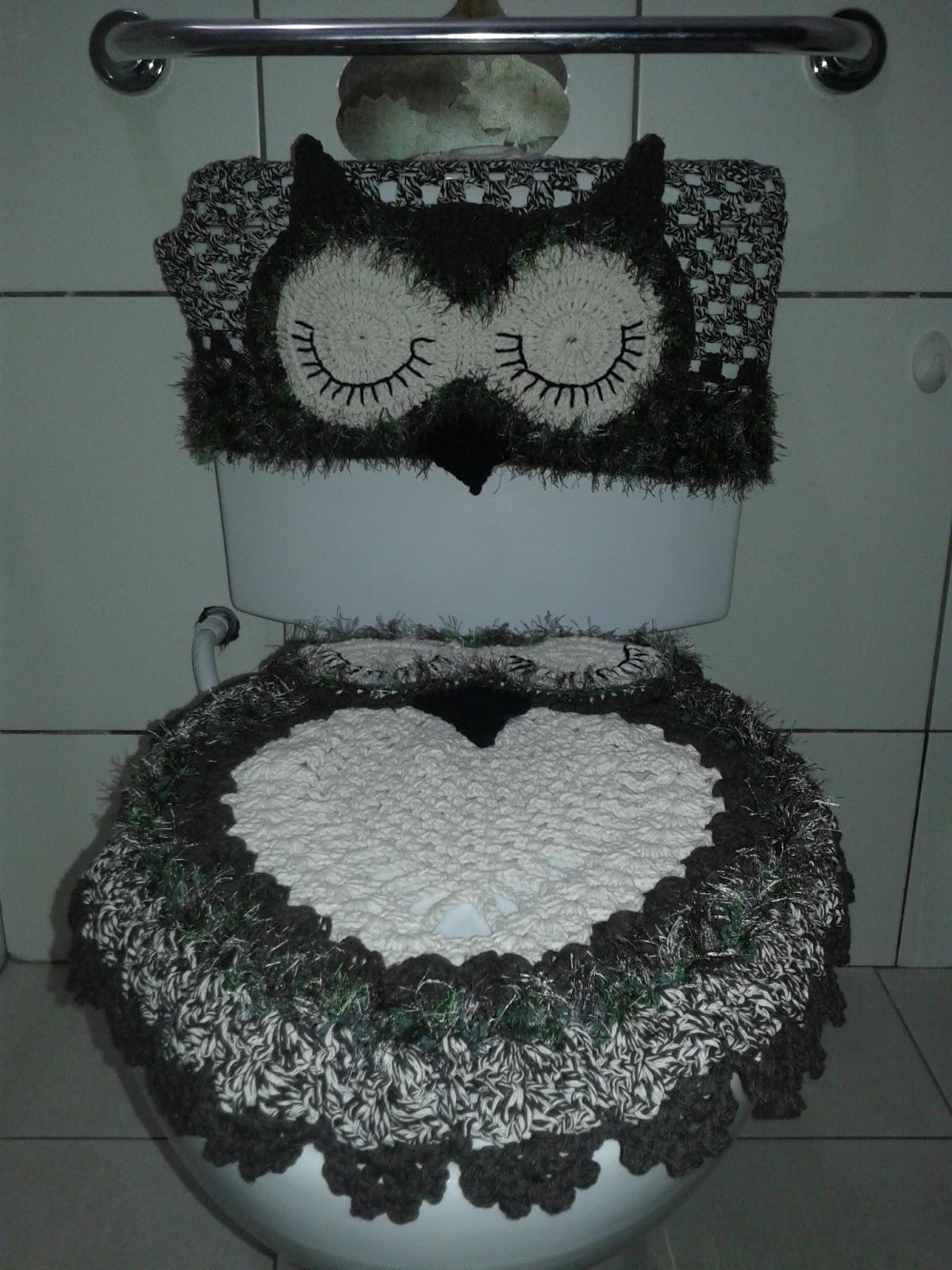 Buffet Aparador Adega ~ R&G Artesanato Kit banheiro croche coruja marrom lindooooo