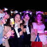 Japanese girls go wild at the Halloween boat cruise in Tokyo, Tokyo, Japan