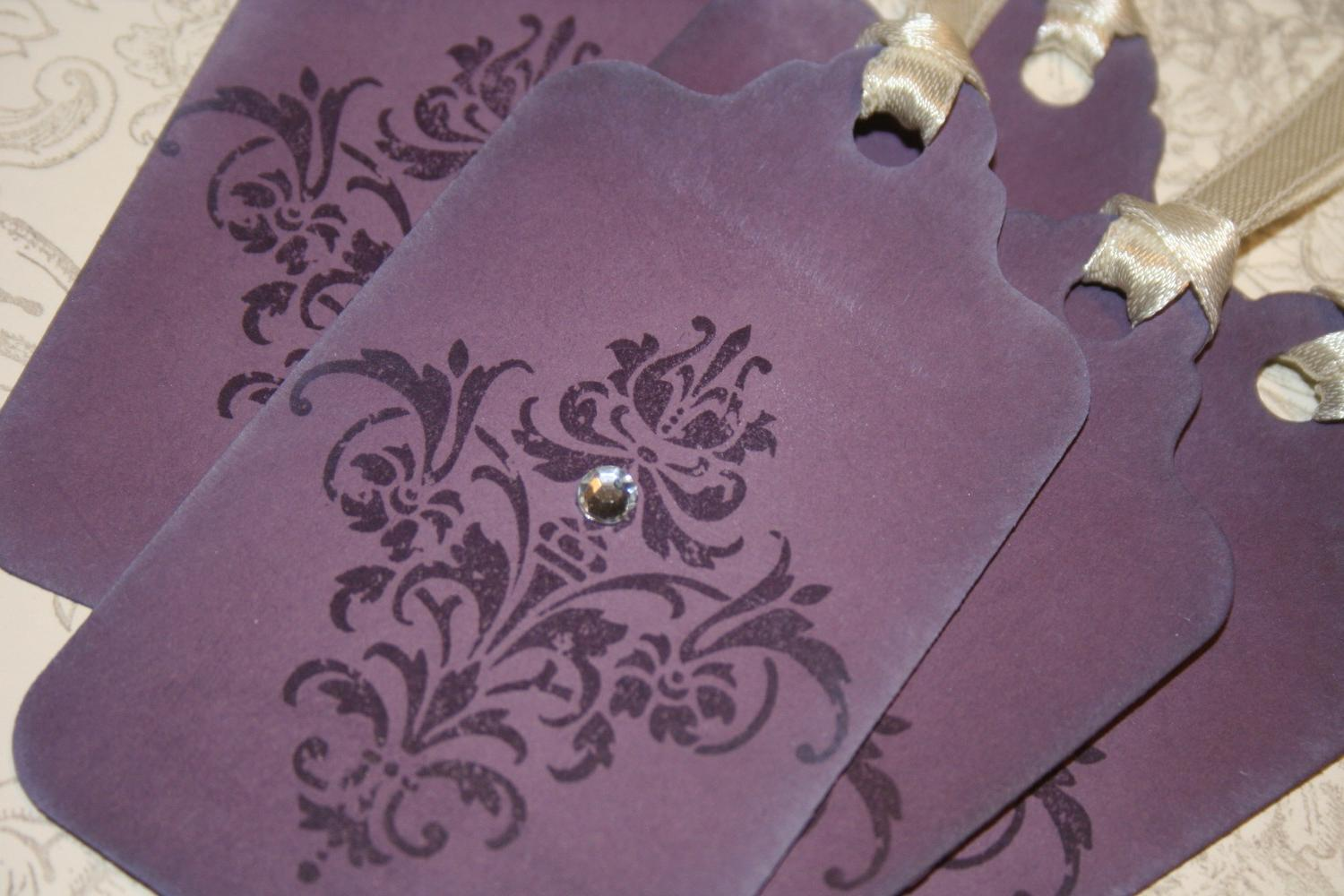 Violet Velvet Damask Wedding Wish Tree Tags Gift Tags Treat Tags -Vintage