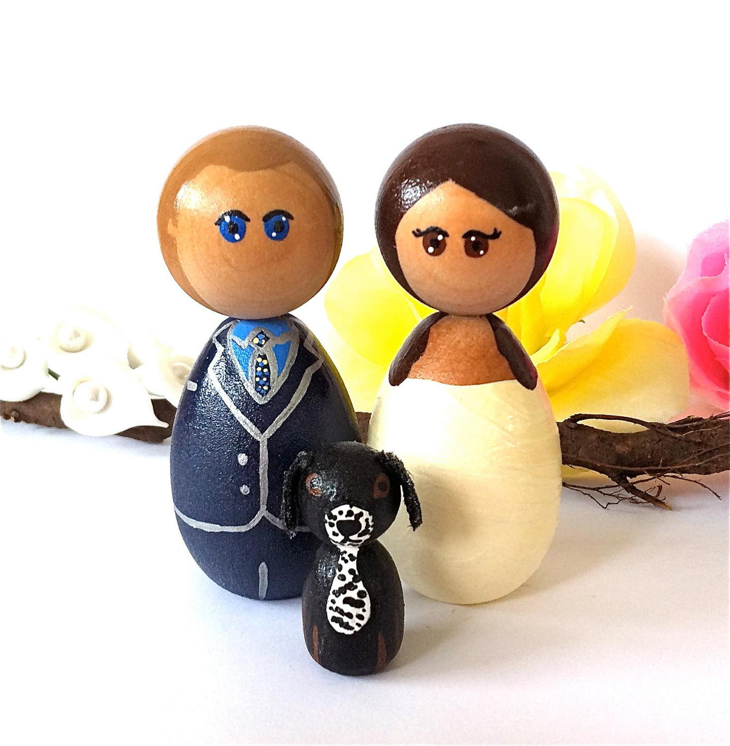 Kokeshi Wedding Cake Toppers with 1 Pet Custom Family of 3 Bride Groom Dog