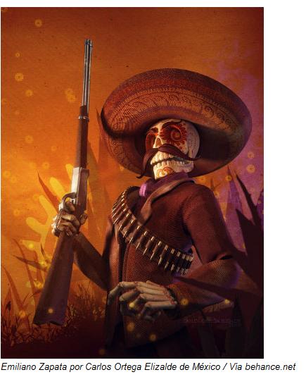 Emiliano Zapata por Carlos Ortega Elizalde de México