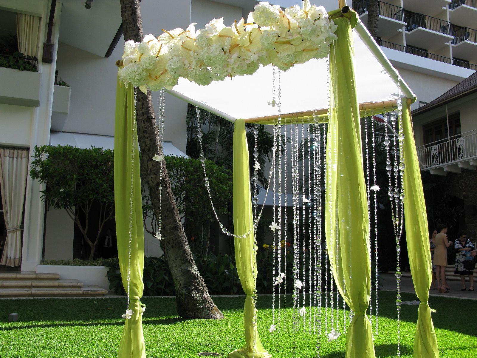 hydrangeas bamboo arbor