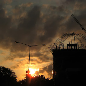 dome structure by Luther Lumentah - Buildings & Architecture Bridges & Suspended Structures ( tower, building, structure, sunset, hotel, city )