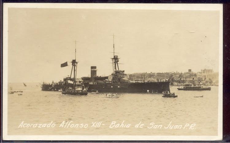 Entrada del ALFONSO XIII en San Juan de Puerto Rico. Archivo Historico y Fotografico de Puerto Rico. Moscioni RPPC.jpg