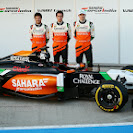 Sergio Perez, Daniel Juncadella & Nico Hulkenberg Force India F1 VJM07 launch