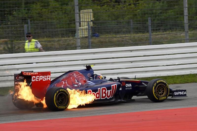 Toro Rosso Даниила Квята в огне на Гран-при Германии 2014