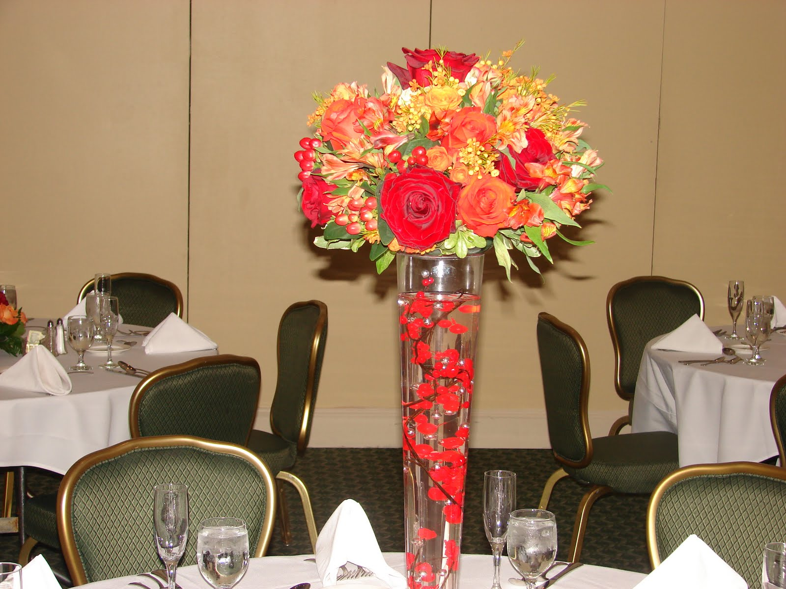 Vibrant Fall centerpiece at the Whitemarsh Country Club.