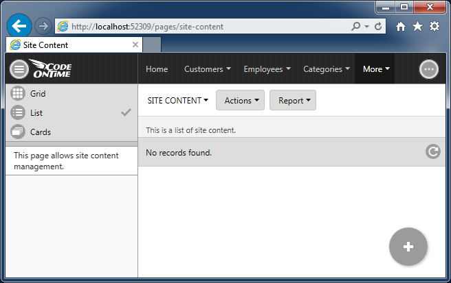 Default Site Content management screen for integrated CMS.