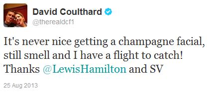 Дэвид Култхард в твиттере о шампанском и подиуме Гран-при Бельгии 2013