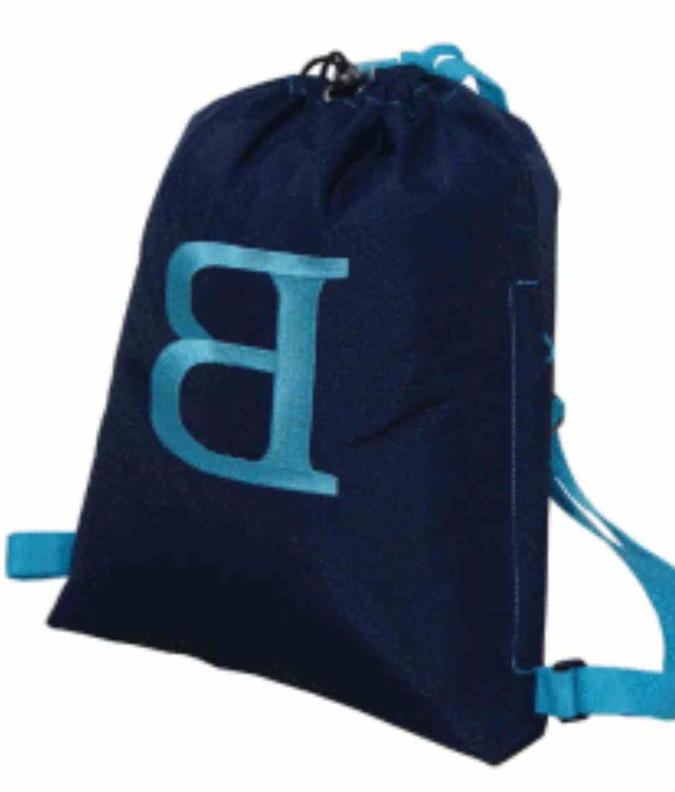 Navy Drawstring Backpack with Aqua Trim