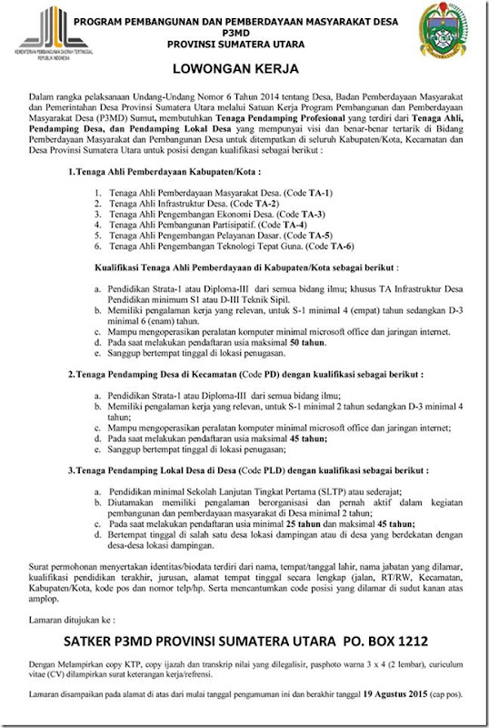 Pendaftaran Pendamping Desa Pegawai non CPNS 2015 – Provinsi SUMUT