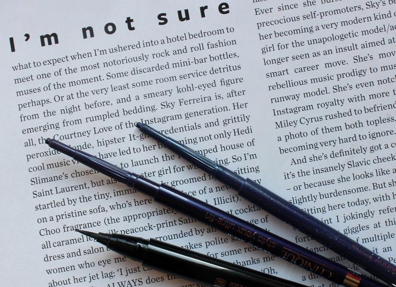 Clinique-SkinnyStick-DemiGrape-swatch,SkinnyJeans-PrettyEasy-Liquid-Eyelining-Pen