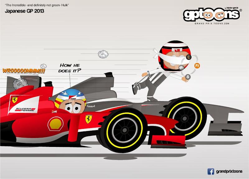 Нико Хюлькенберг впереди Фернандо Алонсо на Гран-при Японии 2013 - комикс Grand Prix Toons