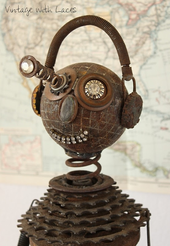 Popping-Eye Pete - A Found Object Metal Sculpture by Vintage with Laces