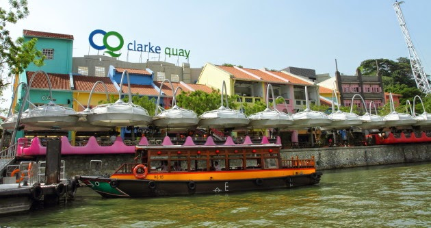The popular nightlife hub of Clarke Quay in Singapore