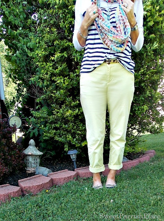 Yellow pants, navy striped shirt, multi colored scarf1