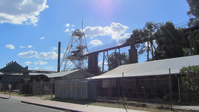 Some of the buildings and equipment above the ground at the Central Deborah Mine.
