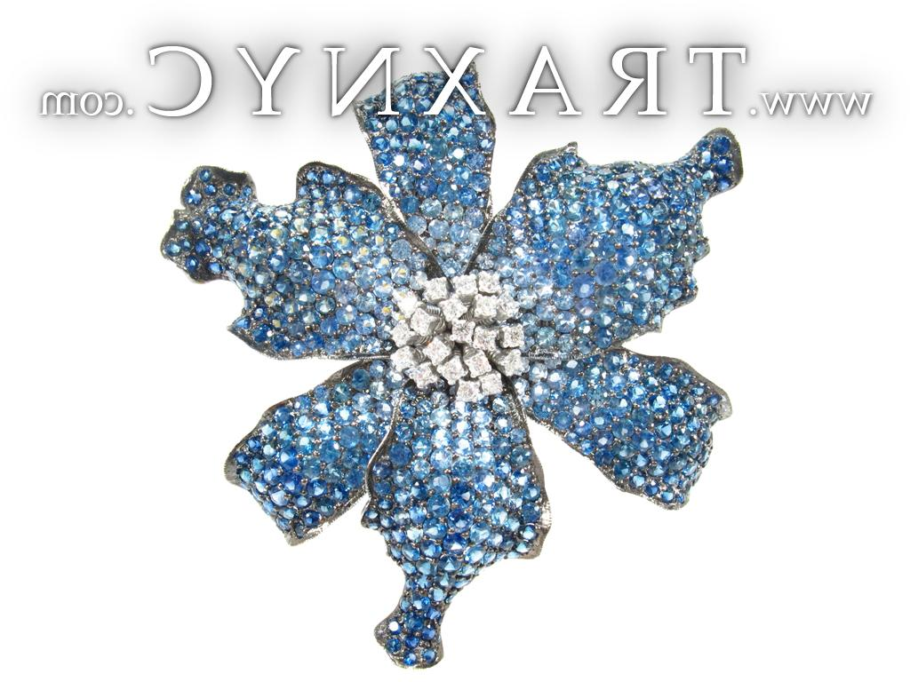 Full Size Picture for White Gold Blue Sapphire Diamond Brooch
