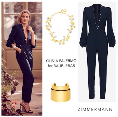 Olivia Palermo for BaubleBar in Zimmermann Studded Low Front Jumpsuit