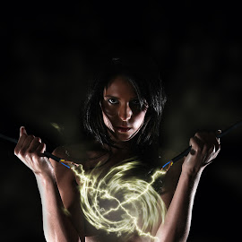 Spark by Adrian Chinery - Digital Art People ( nude, woman, naked, power, electricity, brunette, spark )