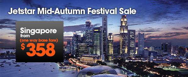 Jetstar捷星航空中秋【機票優惠】,香港去新加坡HK$358起,達爾文HK$625起!