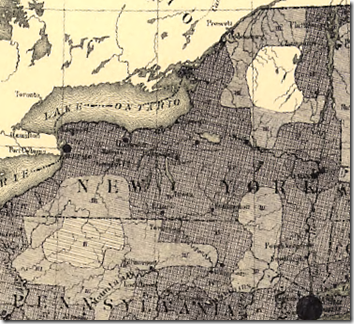 Detail of New York from Francis A. Walker's 1870 population density map of the United States.